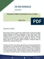 DISCURSO DEL PRESIDENTE MORALES EN EL TRIGÉSIMO PRIMER ANIVERSARIO DE LA CIDOB  04.10.2013