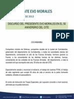 Discurso Del Presidente Evo Morales en El 50 Aniversrio Del Cite 29.09.2013
