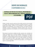 DISCURSO DEL PRESIDENTE MORALES EN LA ENTREGA DE PROYECTOS PARA EL PROGRAMA MI AGUA III, MANCOMUNIDAD DEL TRÓPICO, LAUCA Ñ, COCHABAMBA 27.09.2013