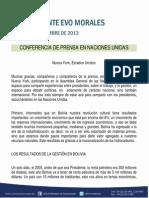 Conferencia de Prensa Del Presidente Morales en Las Nnuu NYC 24.09.13