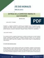 DISCURSO DEL PRESIDENTE MORALES EN LA ENTREGA DEL CAMINO RIBERALTA-GUAYARAMARÍN 22.09.13