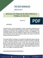 Discurso Del Presidente Morales Para El Inicio de Ampliacion Terminal Viru Viru 21.09.13