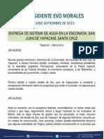 DISCURSO DEL PRESIDENTE MORALES EN LA ENTREGA DE SISTEMA DE AGUA EN SAN JUAN DE YAPACANÍ   19-09-13