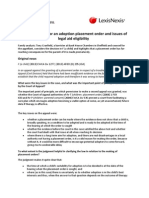 The correct test for an adoption placement order and issues of legal aid eligibility