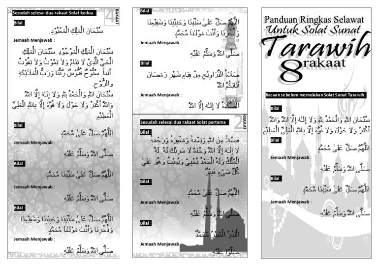 60617685 Bacaan Selawat Solat Tarawih 8 Rakaat Muka Hadapan Brochure Docx