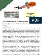 Veneziano elogia desistência de Maranhão