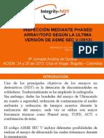 INSPECCIÓN MEDIANTE PHASED ARRAY-TOFD SEGÚN LA ÚLTIMA VERSIÓN DE ASME SEC V (2013)