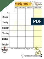 Weekly Menu Plan Printable- November
