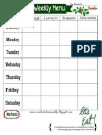 Weekly Menu Plan Printable- December