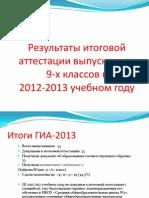 Итоги ГИА 2013
