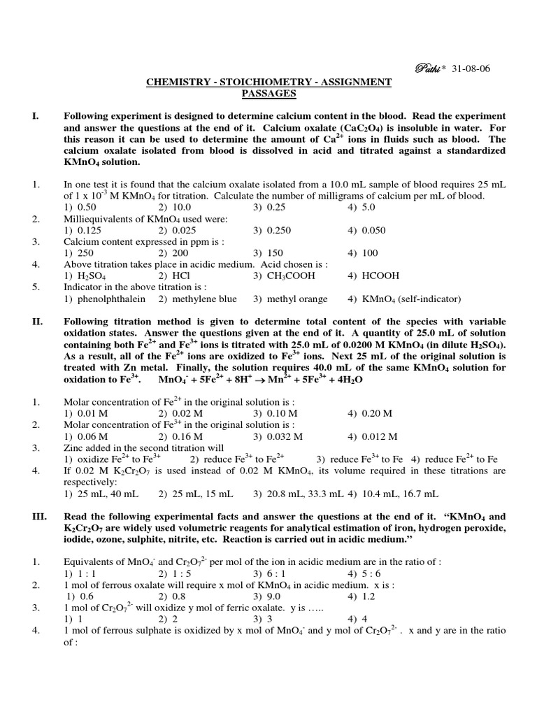Microsoft Word - STOICHIOMETRY-ASSIGNMENT - 1 pdf | Titration | Chromium