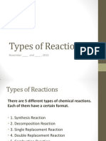 Types of Reactions and Activity Series