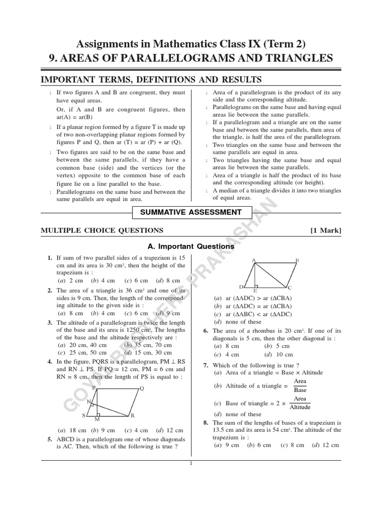 Parallelogramespdf Triangle How To Find