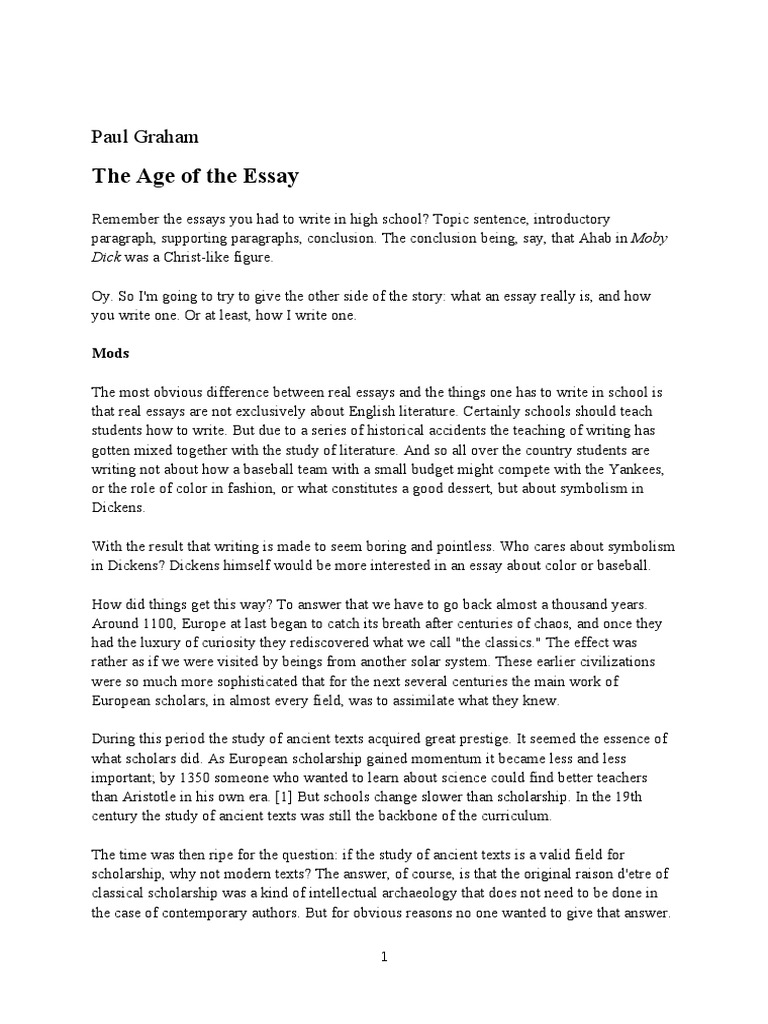 esej paul graham  the age of the essay  thesis  essays