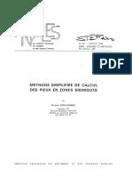 Annalles ITBTP. Méthode simplifiée de calcul des pieux en zones sismiques