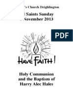 All Saints Sunday and Baptism of Harry Alec Hales