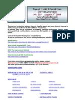 Mental Health Bulletin No 215 August 3rd 2009