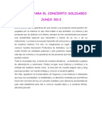 Discurso Para El Concierto Solidario Junio 2013