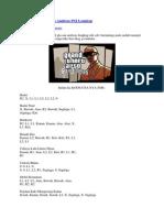 Semua Kode GTA San Andreas PS2 Lengkap