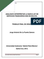 Trabajo Final de Grado Ley de Servicios Financieros # 393 en Bolivia