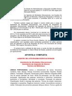 APOSTILA CONCURSO SECRETARIA DE EDUCAÇÃO SED-MS NIVEL MÉDIO