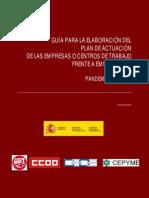 GUÍA PARA LA ELABORACIÓN DEL PLAN DE ACTUACIÓN DE LAS EMPRESAS O CENTROS DE TRABAJO FRENTE A EMERGENCIAS - PANDEMIA DE GRIPE
