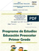 PROGRAMA DE ESTUDIOS EDUCACIÓN PREESCOLAR PRIMER GRADO