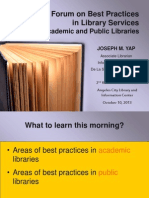 Best practices in library services (academic and public)