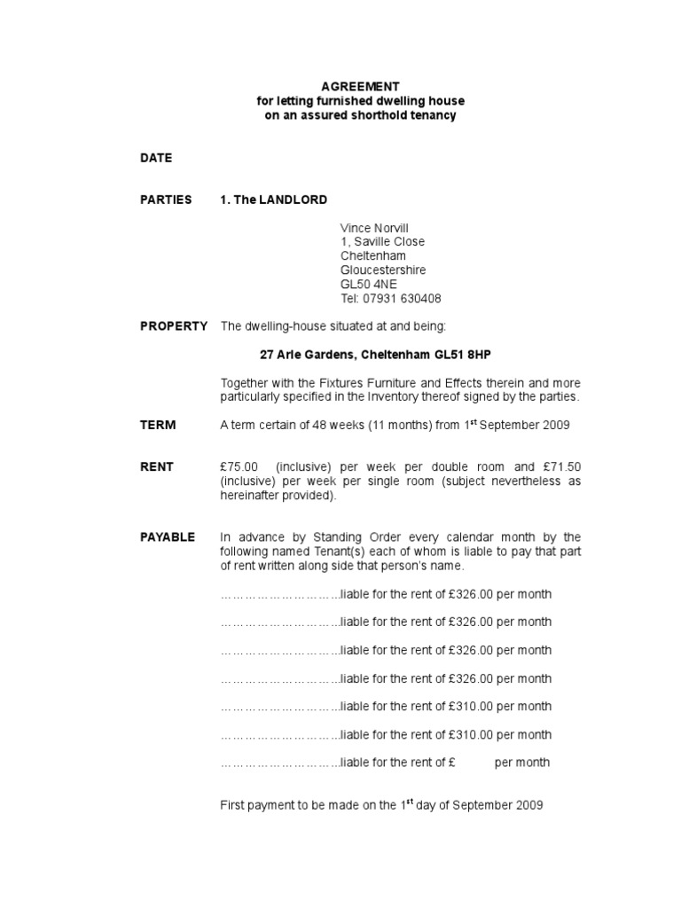 Agreement For Letting Furnished Dwelling House On An Assured