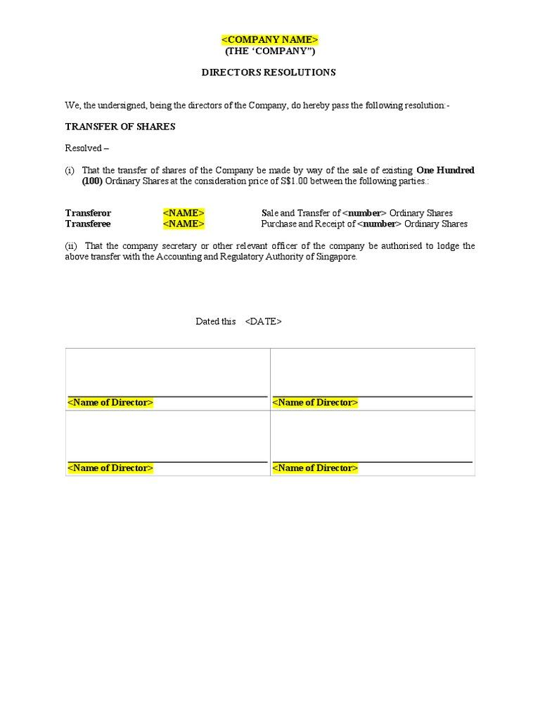 Resolution of Transfer of Shares & Share Transfer Instrument Document
