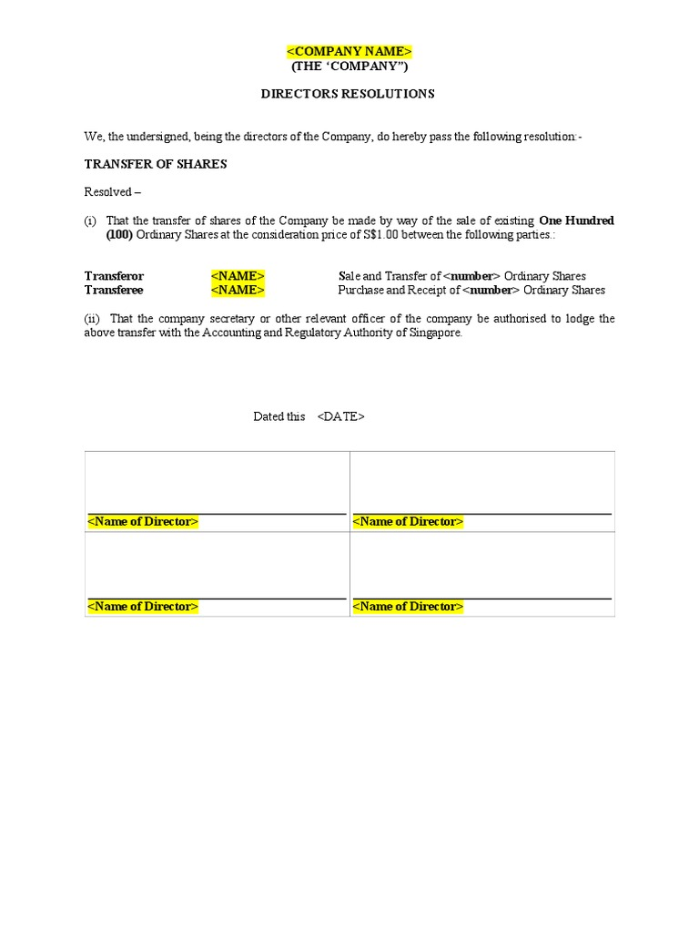 Resolution Of Transfer Of Shares Share Transfer Instrument Document