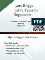 Myers BriggsPersonalityTypesforNegotiation
