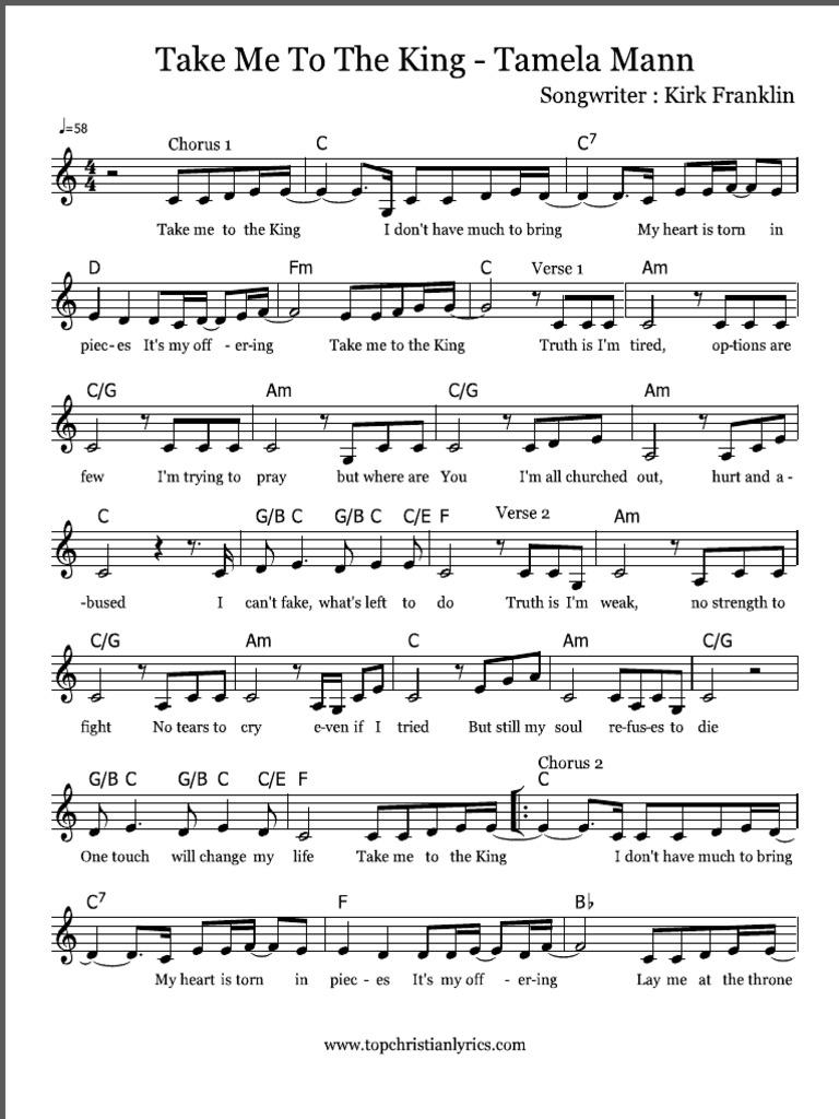 Take Me To The King by Tamela Mann Sheet Music   PDF ...
