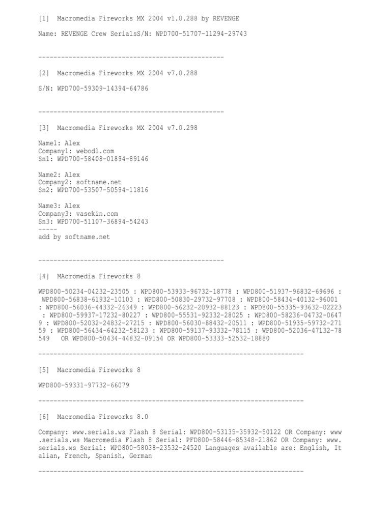 macromedia fireworks 8 serial by jdavidcardenas bajateloz txt