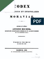 Boczek - Codex Diplomaticus et Epistolaris Moraviae 1 (396 - 1199)