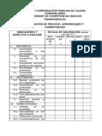 Evaluacion de Proceso y Aprendizajes