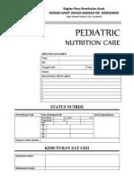 Sheet - Pediatric Nutrition Care