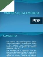 valores de la empresa