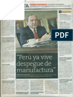 Peru Ya Vive Despegue de Manufactura