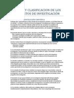 DISEÑO Y CLASIFICACION DE LOS PROYESTOS DE INVESTIGACIÓN