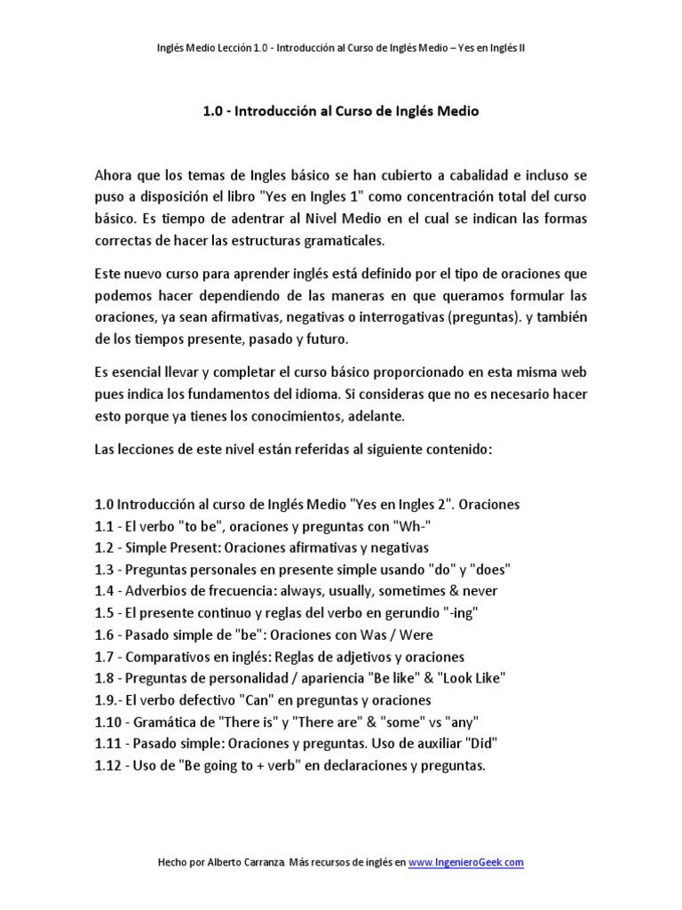 1 0 Introducción Al Curso De Inglés Medio Sentence