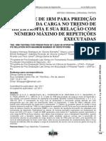 TESTE DE 1MR PARA PREDIÇÃO DA CARGA NO TREINO DE HIPERTROFIA E SUA RELAÇÃO COM NUMERO MAXIMO DE REPETIÇÕES EXECUTADAS