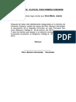 CONSTANCIA DE PLATICAS PARA PRIMERA COMUNIN