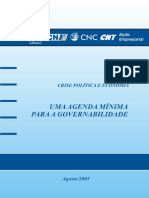 CRISE POLÍTICA E ECONOMIA - UMA AGENDA MÍNIMA PARA A GOVERNABILIDADE