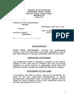 Sample Trial Memorandum