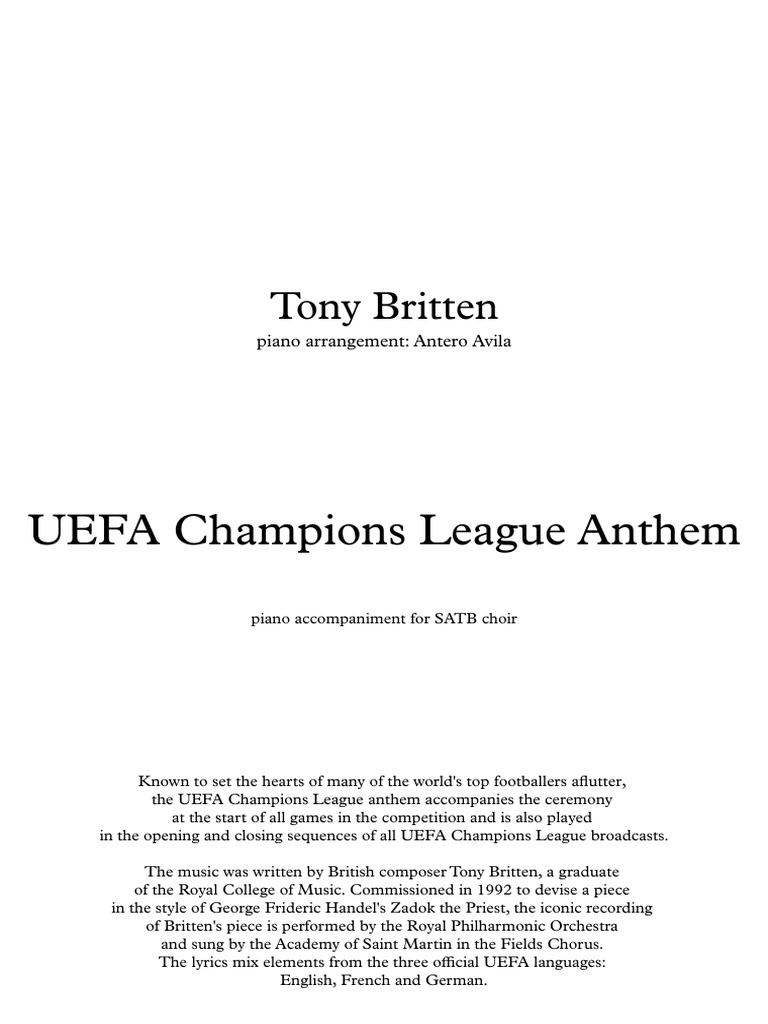 UEFA Champions League Hymn for piano pdf