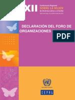 Declaración del Foro de Organizaciones Feministas