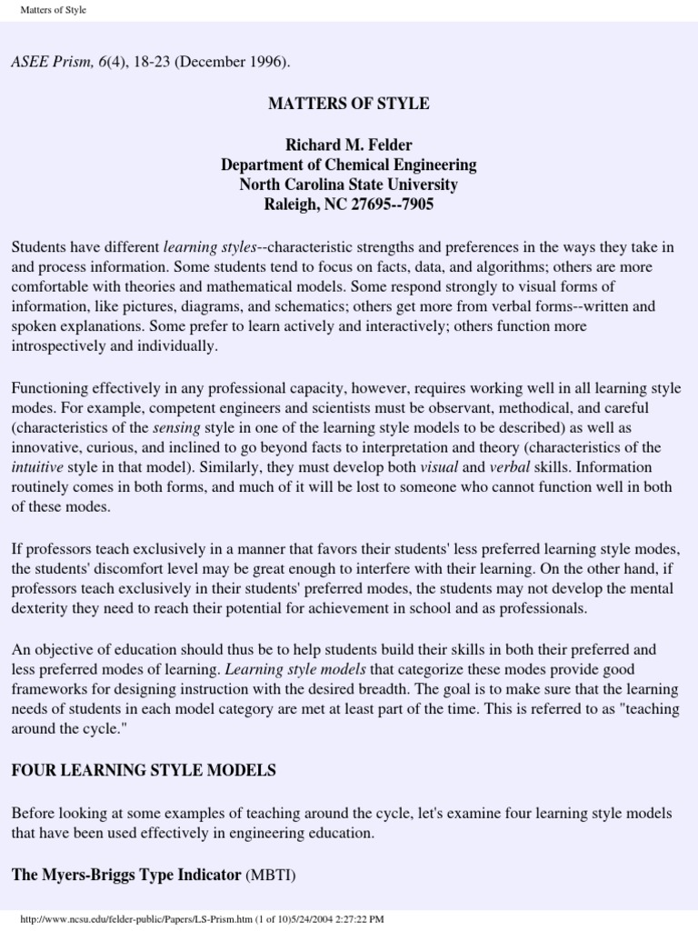 Enough With Learning Styles Already >> Matters Of Style Pdf Learning Styles 64 Views