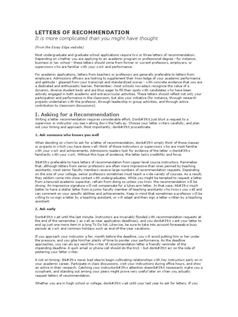 letters of recommendation graduate school academia
