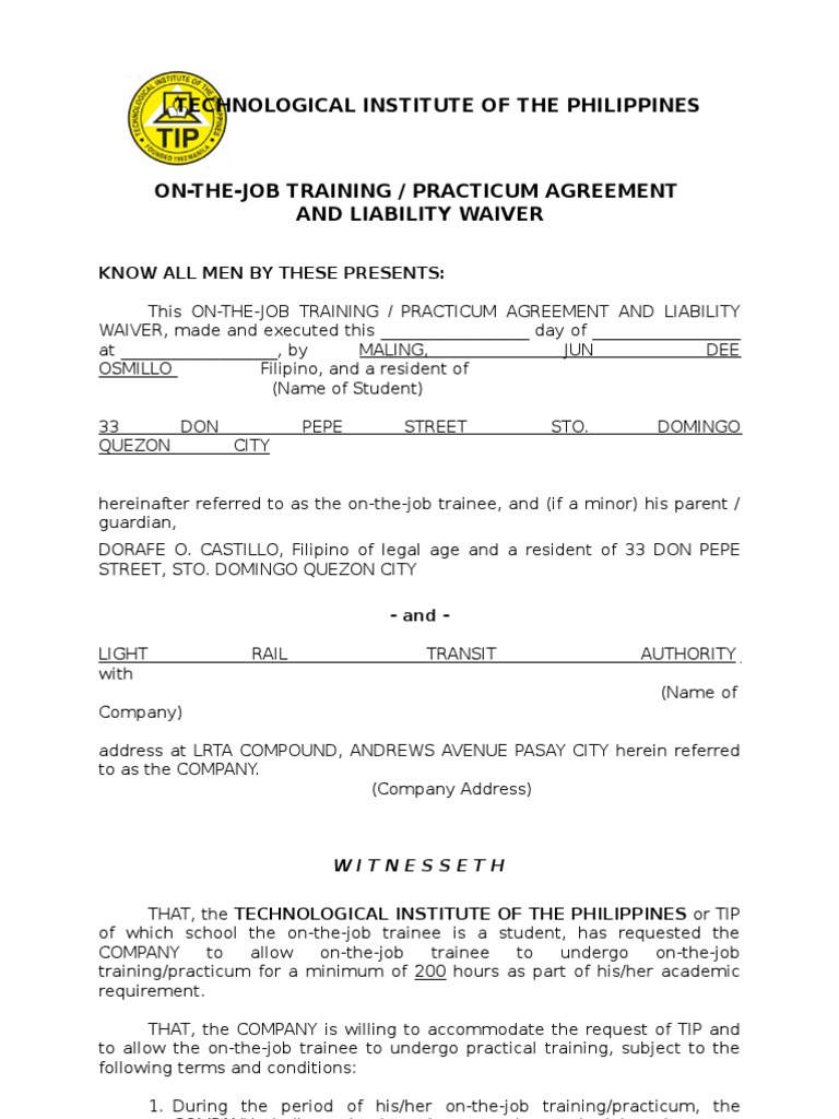 Ojt Practicum Agreement and Liability Waiver – Training Agreement